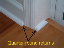 In this photo you can see the finished quarter round return or end cap.