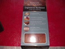Home Depots, Home Legend engineered hardwood click and lock flooring box label.